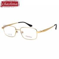 Gold Color Titanium Glasses Frame Men Spectacles Light Weight Large Size Eyewear for Progressive Lenses Korean Glasses
