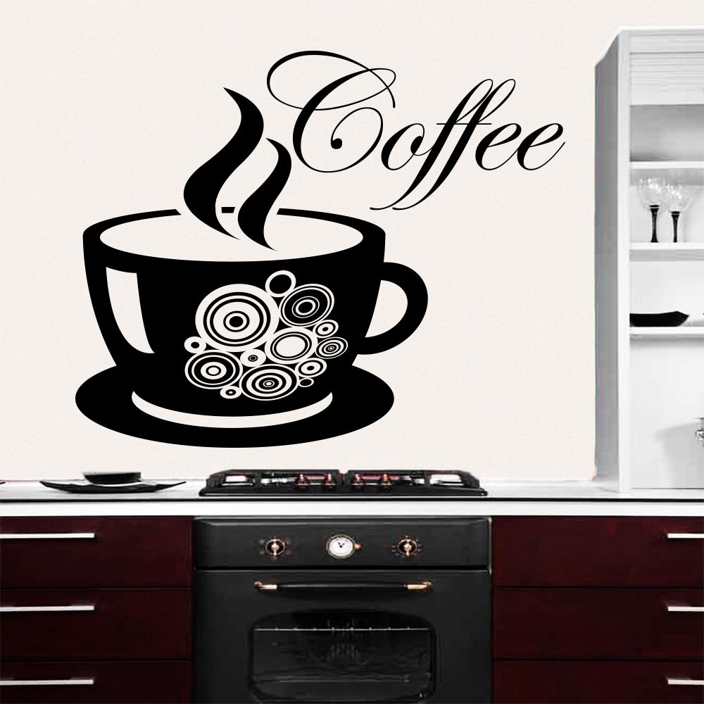 Wall Decals Coffee Cup Decal Sticker Vinyl Cafe Kitchen Decor Art ...