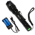 Brand TOACH 200-500 meters 5000LM waterproof camping hunting black adjustable rechargeable 18650 flashlight tactical torch light