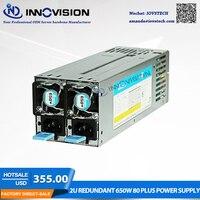 High efficiency saved energy 2U redundant 650W 80 plus power supply for2U/3U Server chassis