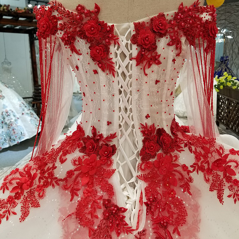 Image 5 - AXJFU white lace princess red flower beading crystal ruffles vintage wedding dress luxury long pearls wedding dress 05410Wedding Dresses   -