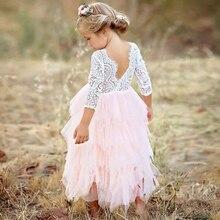 Vestidos niñas verano vestido 2018 marca espalda descubierta fiesta adolescente unicornio princesa vestido niños traje para niños ropa Rosa 2- 6 T