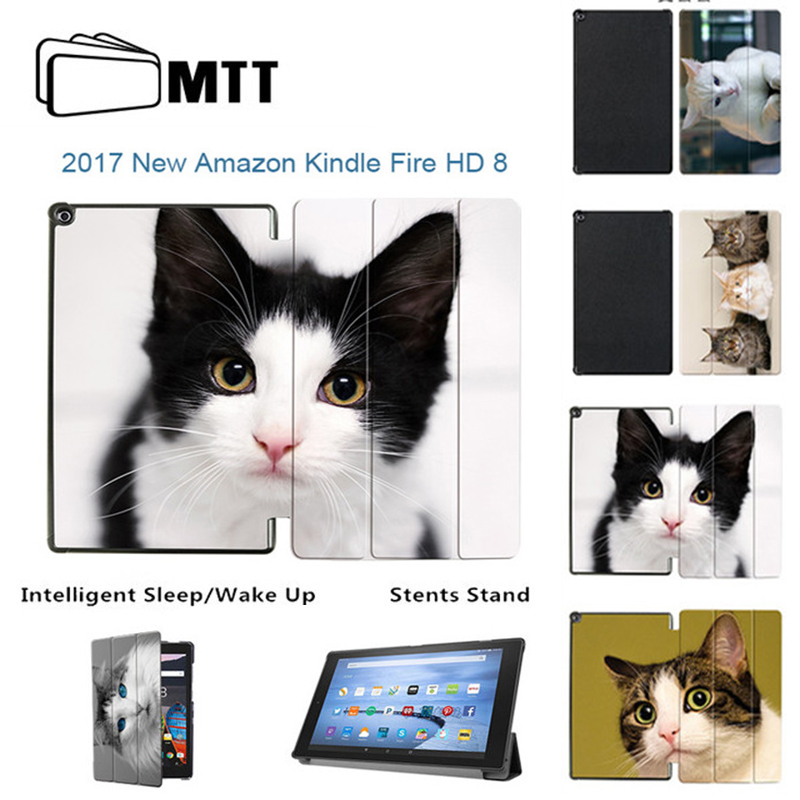 MTT Folio stand PU leather Lovely Cat Cover Case For Amazon 2017 New Kindle Fire HD 8 HD8 2017 Tablet Case with Alexa 7 Display cartoon painted flower owl for kindle paperwhite 1 2 3 case flip bracket stand pu cover for amazon kindle paperwhite 1 2 3 case
