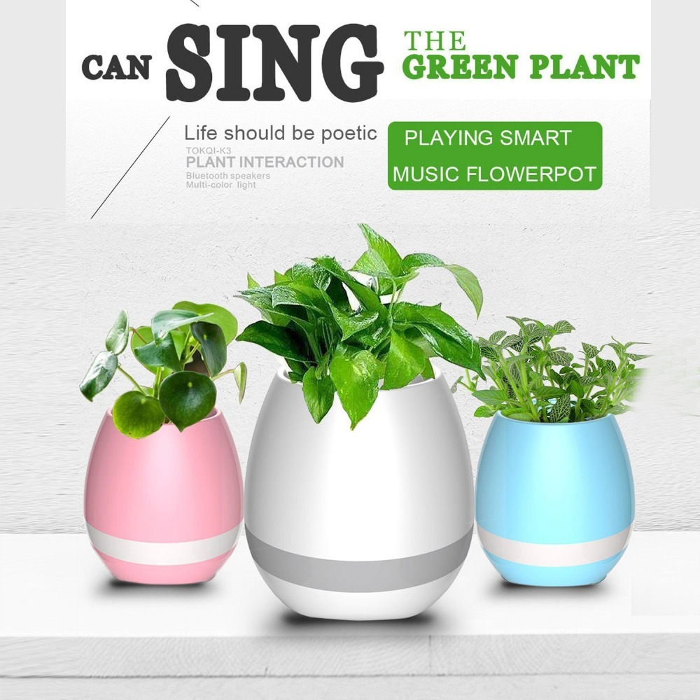 Bluetooth Speaker Smart Music Flower Pot Colorful LED Night Light Creative Wireless Speaker