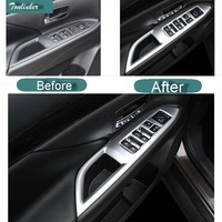 4 Pcs DIY Car Styling New ABS The Windows Left Button Panel Cover Case For 2013