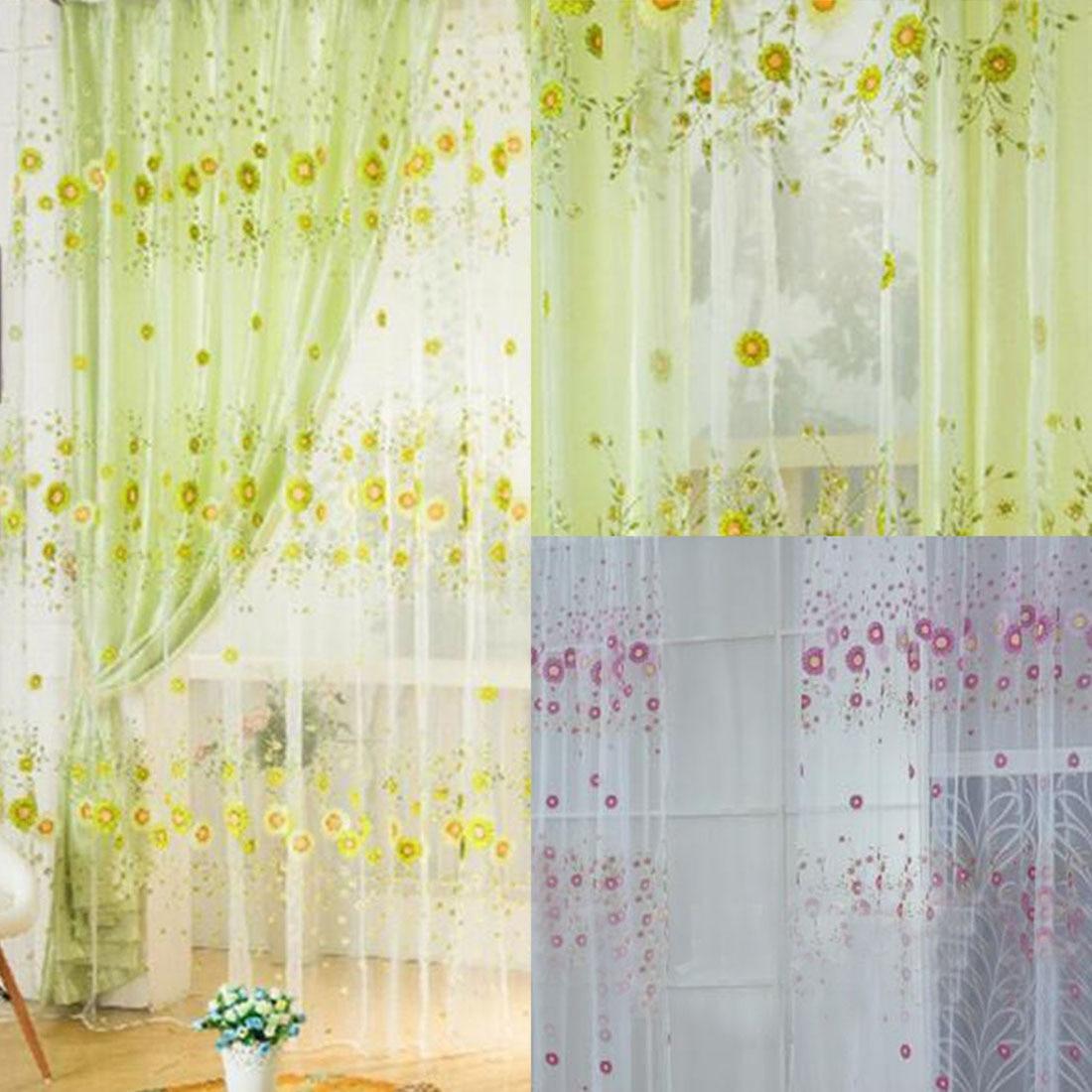 Rideau Pour Porte Fenetre €3.12 26% de réduction|rideaux tournesol imprimé voile tulle porte fenêtre  balcon transparent criblage rideau pour chambre salon cuisine|curtains