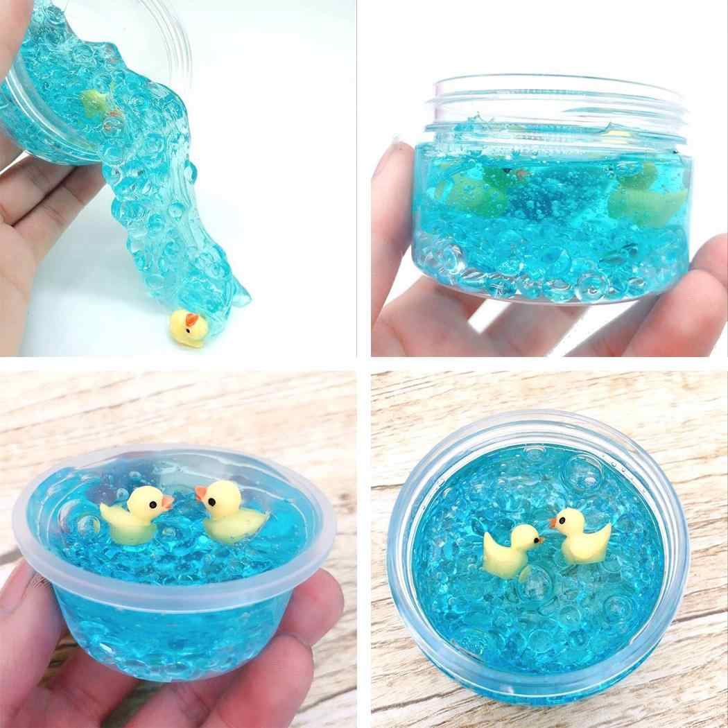 Cute Small Yellow Duck Fluffy Jelly Slime Sludge Toy Scented Stress Relief Sludge Toy Blue