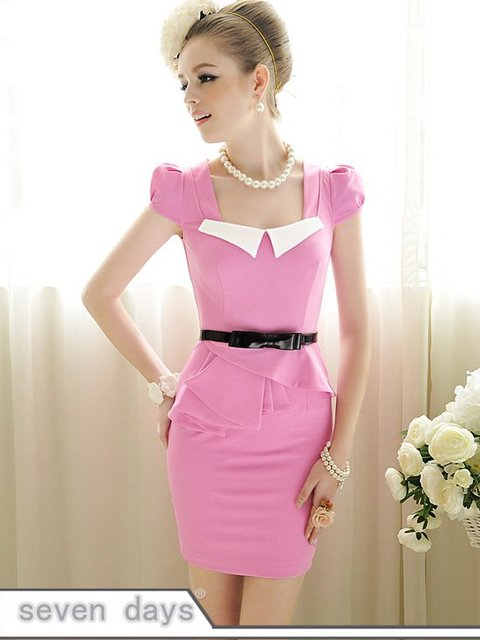 Free Shipping Summer Hot Sale Sexy Lotus Edge Square Neck Puff Sleeve Dress CL052113RD