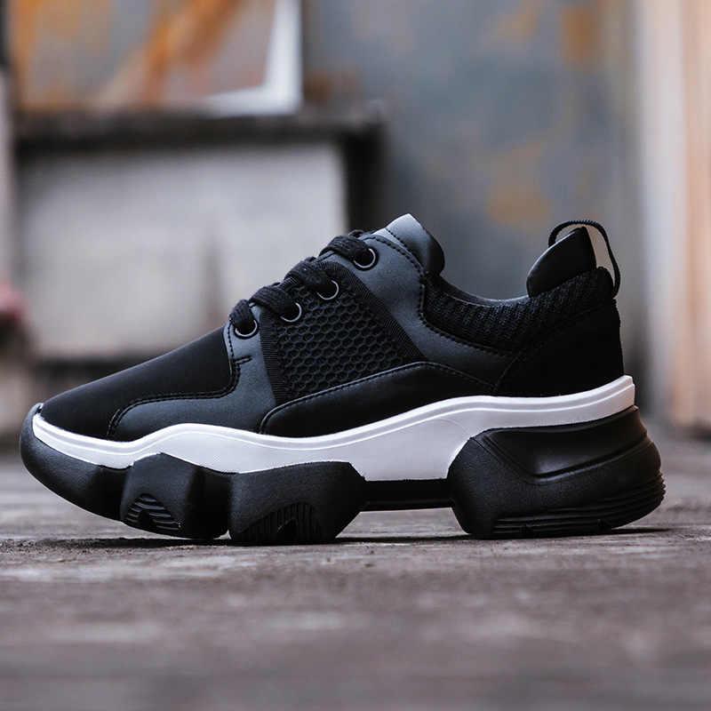 Beyaz ayakkabı Kadınlar Hakiki Deri Tıknaz Cneakers Platformu Yay Newzapatos de mujer Bahar Yeni Bayan ayakkabı Patchwork Siyah