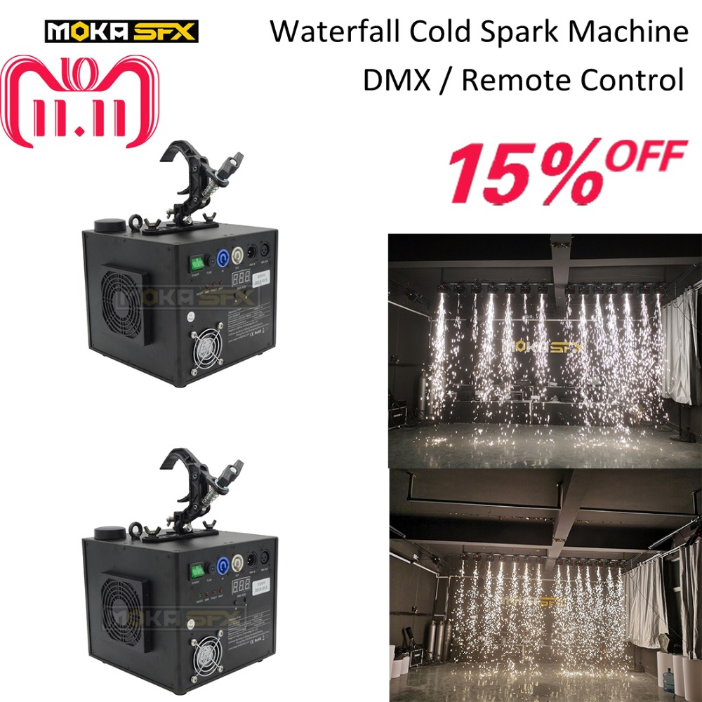 2Pcs/lot with flight case waterfall Cold Spark Fountain Firework Machine Indoor/outdoor cold spark machine for stage wedding china cold firework machine indoor wedding fountain dmx display spark system fireworks machine