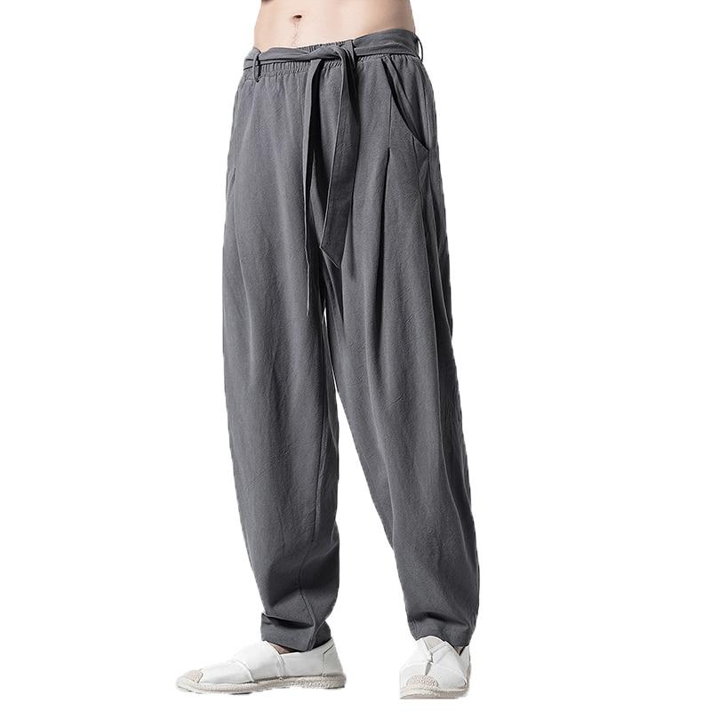 2019 Spring Summer Harem Pants Men Casual Sweatpants Elastic Waist Oversize Linen Pants Brand Mens Joggers Hip Hop Trousers 5xl