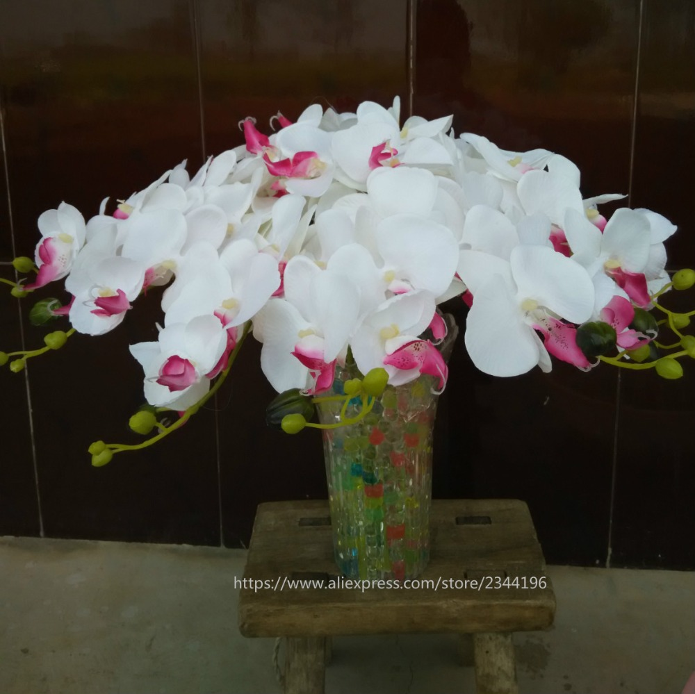 14pcs silk orchids u0026 vase settable artificial floral white green blue - Silk Orchids