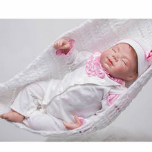 20 Inch Reborn Sleeping Babies Girl Silicone Realistic Baby Doll Newborn Princess Dolls Toy With White Clothes For Collection