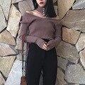 2016 de otoño de la vendimia bufanda suéter Con Cuello En V top Jerseys de punto para mujeres