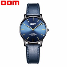DOM Ultra Thin Ladies Watch Brand Luxury Women Watches Waterproof Rose Gold Stainless Steel Quartz Wrist Watch Femme G-36BL-1MT women quartz watches tungsten steel ladies watch dom luxury brand wristwatches waterproof calendar diamond woman clocks