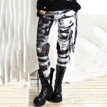 дешево!  2019 повседневные брюки женские с принтом в виде сетки Hipster Fall черные готические рваные брюки