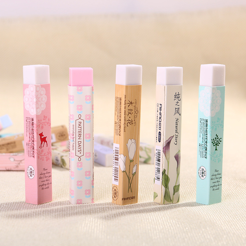 1PC Cube Long Rubber Pencial Kawaii Eraser Cute School Supplies Stationery Erasers Correction Products