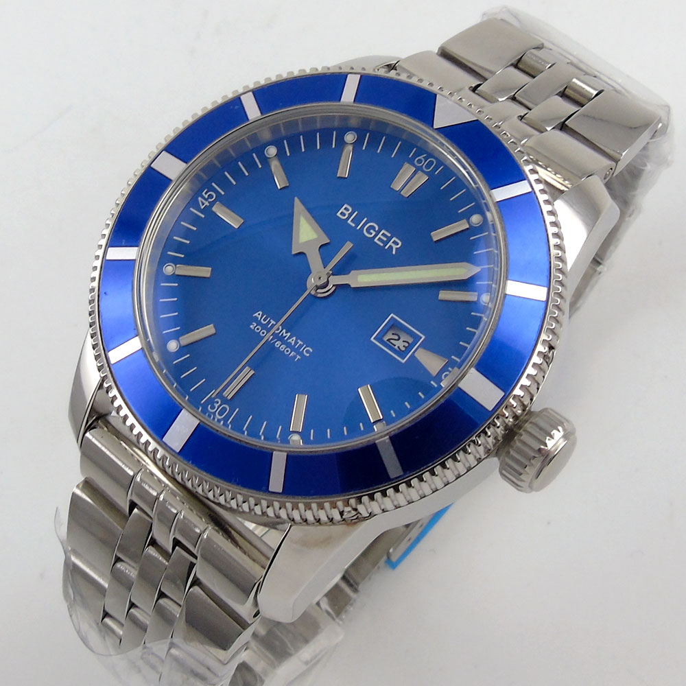 Luxury BLIGER 46MM Blue Dial Mens Watch Date Display Rotating Bezel Automatic Movement Wrist Watch Luxury BLIGER 46MM Blue Dial Mens Watch Date Display Rotating Bezel Automatic Movement Wrist Watch