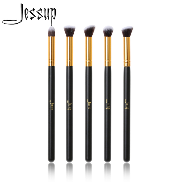 Jessup 5pcs Makeup brushes sets Black/Gold Wood handle beauty Professional Cosmetic Precision Tapered  Flat Angled Make up kits