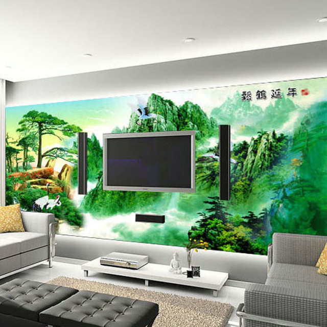 A Large Mural Wallpaper TV Background Office Meeting Room Welcoming Songfu Life Sickness