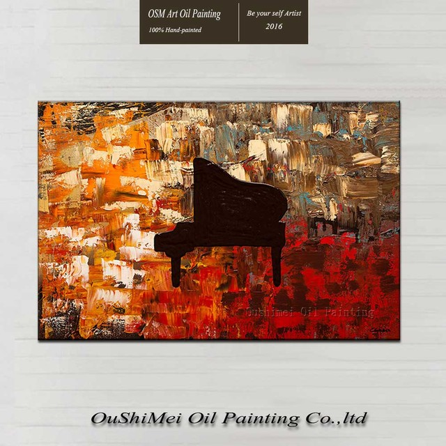 Hand paint abstract piano oil painting canvas for hall wall ...