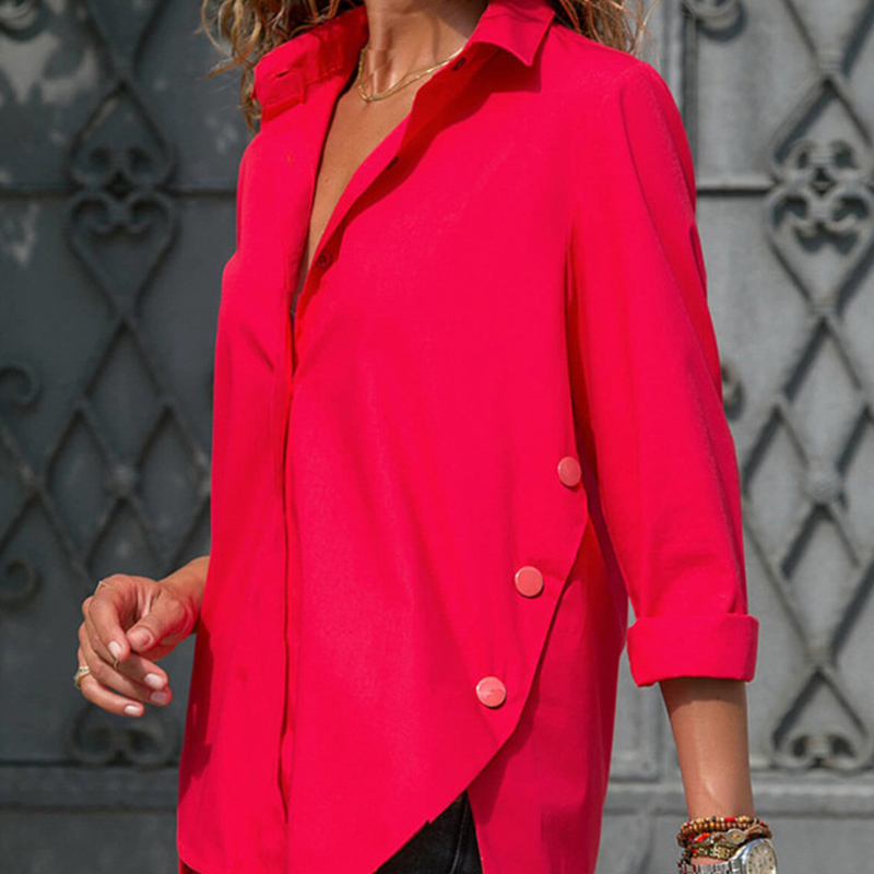 Women's Office Lady Chiffon Irregular Shirt Top Black White Red Long Sleeve Female Blouse 2019 Summer Shirts Tops Plus Size 5XL