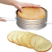 23-30 cm Edelstahl DIY Einstellbare Retractable Kreisring Mousse Mould Slicing Kuchen Geschichteten Slicer Backen Tool Kit Set
