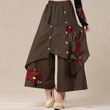 #2001 2017 Del Bordado de Phoenix Casual pantalón de pierna Ancha mujeres pantalones de Lino Suelta Pantalones Pantalon femme mujeres Pantalones mujer