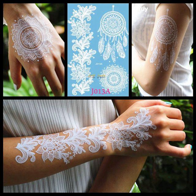 White Henna Dreamcatcher Temporary Tattoo For Women Wedding Body Art ...
