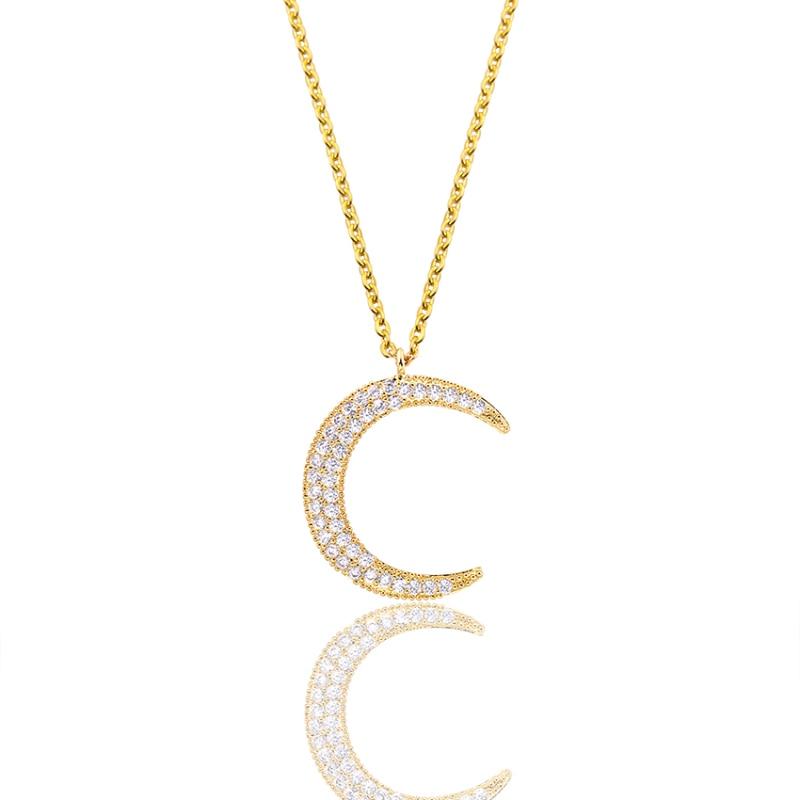 Magnifique Collier Conte Cristal Demi Lune Femmes