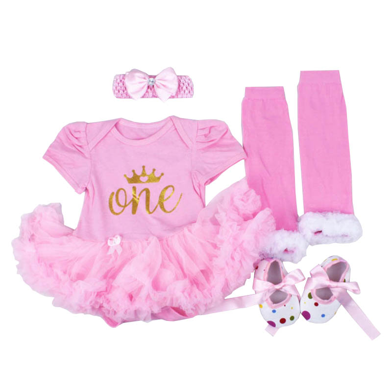 Newborn Infant Baby Girls Clothing Sets 4pcs Crown Romper Tutu Dress Outfits 1st Birtday Gift Sets For Baby Girl Bebes Infantil 1 year tutu baby girl clothing sets infant romper tulle skirt headband kids party costume bebes one birthday outfits vestidos