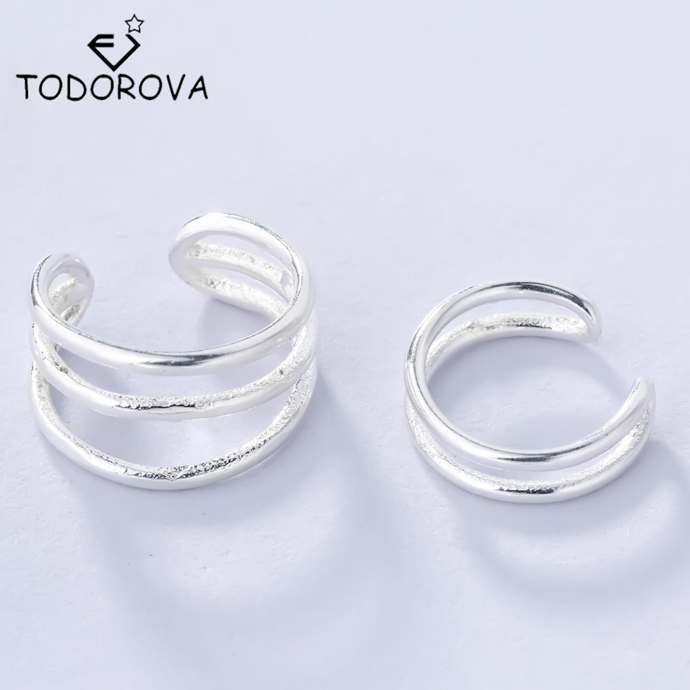 Todorova 925 Sterling Silver Clip on Earrings Simple Design Vintage Double Cuff Clip Earrings for Women without Ear Piercing