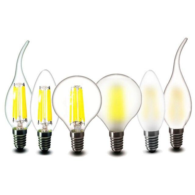 2w 4w 6w LED COB Bulb E14 Candles Lamp G45 C35 Clear Glass Frosted LED Filament lights warm white 220v 230v 240v AC