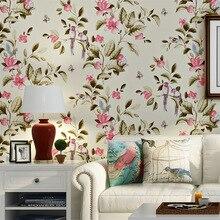 Retro American Rural Non-woven Wallpaper European Pastoral Flowers Bedroom Living Room Sofa TV Background Wallpaper цена 2017