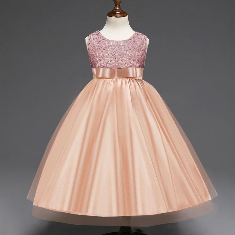 852bc5ec753b9 5 14 Years Girls New Summer Lace Bow Party Princess Dress Girl ...