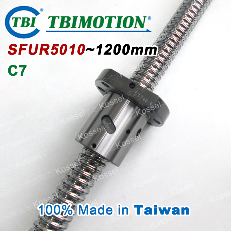 TBI 5010 C7 1200mm ball screw 10mm lead with SFU5010 ballnut of SFU set end machined for high precision CNC diy kit tbi 2510 c3 620mm ball screw 10mm lead with dfu2510 ballnut end machined for cnc diy kit dfu set