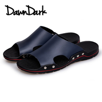 Summer Men Leather Slippers Fashion Outdoor Male Slippers Split Leather Foot Massage Flat Men Beach Shoes Big Size
