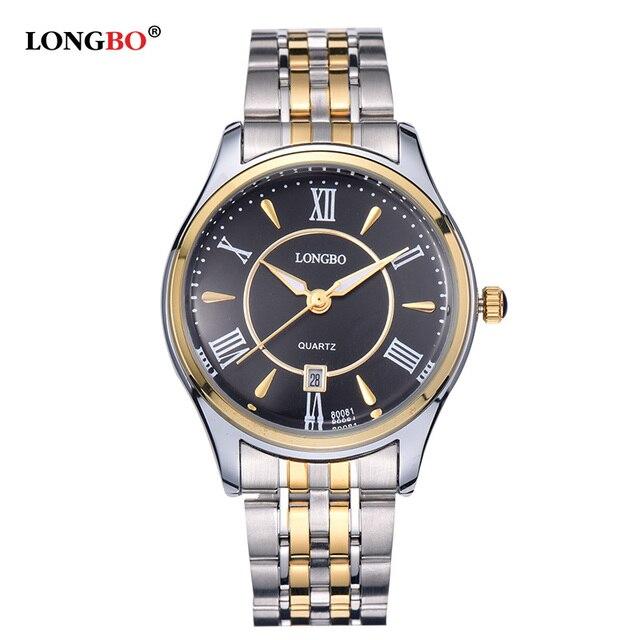 LONGBO Casual Pareja Amantes de Cuarzo Relojes Reloj Masculino de Acero Inoxidable Reloj de Pulsera con Fecha del Calendario y Resistente Al Agua 80081