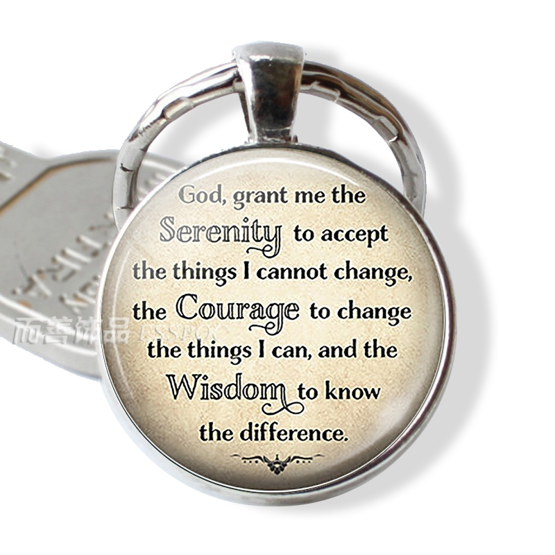 Serenity Prayer Religion Jewelry God Inspirational Glass Cabochon Dome Quote Keychain Key Ring Charm Fashion Accessories Pendant