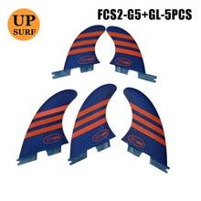 Surf fcs2 barbatanas g5 + gl tamanho laranja/azul favo de mel barbatanas de surf fcs ii tri conjunto quadrilátero fin fcs2 5 barbatanas conjunto