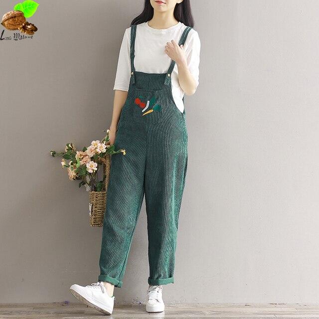 Осенне-зимняя Дамская обувь вельвет одежда повседневные свободные штаны с поясом универсальные винтажные штаны с подтяжками embroidey вельветовые брюки