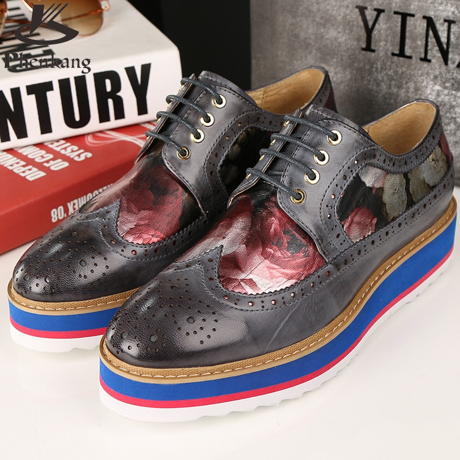 ФОТО Genuine leather designer vintage platform single flat lace shoes round toe red black 2017 sping handmade oxford shoes for women