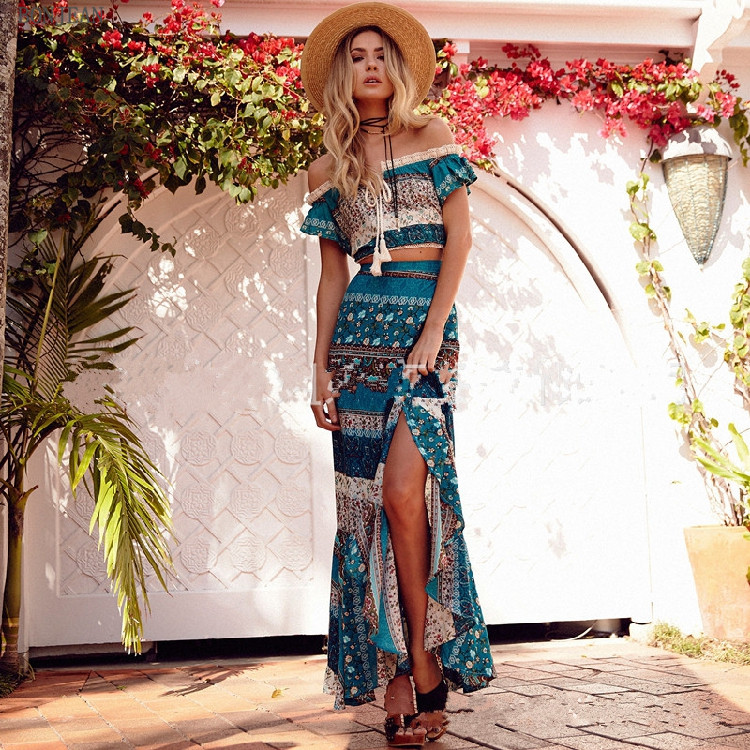 Free Shipping Europe United States New 2018 Spring And Summer Fashion Comfortable Bohemia Word Shoulder Two Sets Of Dresses