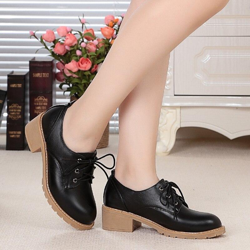 Casual marrón Oxford Nueva Zapatos Genuino Mocasines Primavera Moda De Negro Mujer Cuero 2018 Señoras vqpfIqO