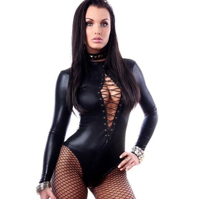 930d80c7a Autumn 2016 hot sexy black faux leather bodysuit long sleeve thong teddy  lingerie wet look catsuits women clubwear vestidos