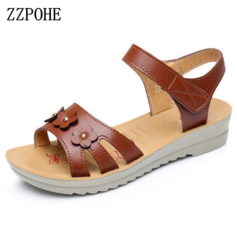 ZZPOHE 2018 Summer new mother sandals Leather non-slip casual middle-aged soft Women sandals grandmother flat Plus Size sandals zzpohe 2018 summer shoes woman sandals women casual comfortable wedges platform sandals female soft leather plus size sandals