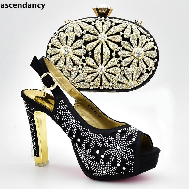 black Con Para Verano A Imitación Diamantes Mujeres Zapatos Juego Último Azul África oro Las púrpura Y Diseño Decorado El Bombas De Bolsos Tacón Alto tBwq0