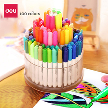 Deli watercolor pens 100 colors and 8 highlighters per set washable markers rotatable gift durable painting drawing colored pens