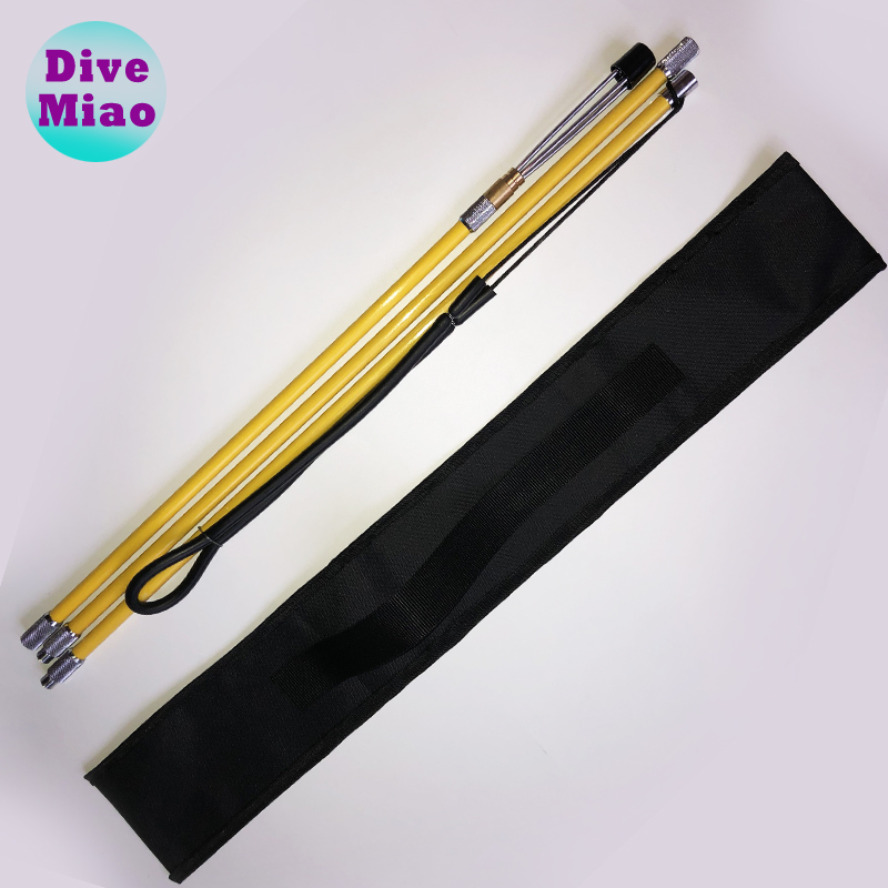 3 in 1 poleSpear carbon fiber polyspear Straight Spear fishing fork yellow orange color 5 prong