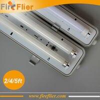 O Envio gratuito de 10 pçs/lote Duplo T8 2ft 4ft 5ft luz dispositivo elétrico suporte da lâmpada G13 levou Tubo fluorescente Montagem IP65 à prova d' água 18 W 36 W